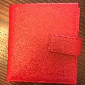 'Le Foulonne' Leather Wallet Pebbled Wallet Red
